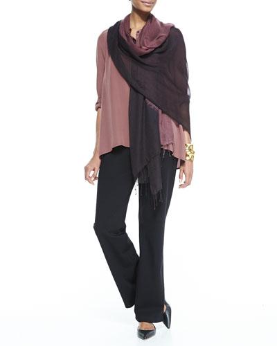 Eileen Fisher Silk Crepe de Chine Long Shirt, Straight-Leg Ponte Pants & Wave Print Twisted Tassel Scarf, Women's