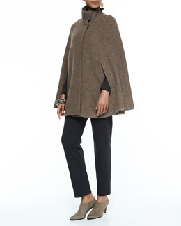 Eileen Fisher High-Collar Tweed Cape, Slim Jersey Tee & Slim Pants