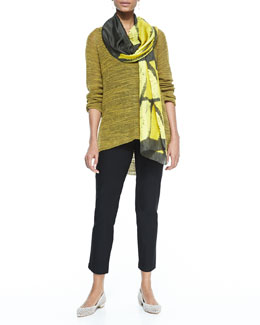 Eileen Fisher Slub-Knit V-Neck Tunic, Long Slim Camisole, Stretch-Crepe Ankle Pants & Silk Shibori Icons Scarf