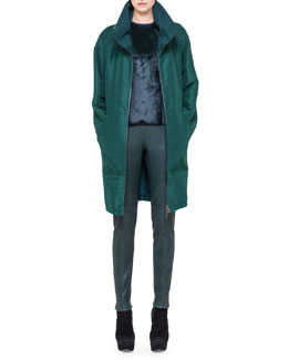 Akris Reversible Silk and Cashmere Parka, Sleeveless Fur-Front Top & Slim Stretch Napa Leather Pants