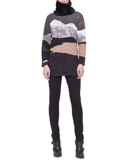 Akris punto Swiss Alps Jacquard Sweater, Jersey Skinny Pants & Shearling Fur Scarf