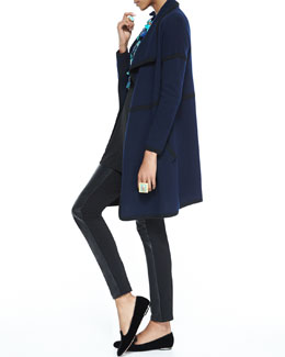 Eileen Fisher Cashmere Draped Cardigan, Silk Jersey Long-Sleeve Tunic & Ponte Leather-Blocked Leggings