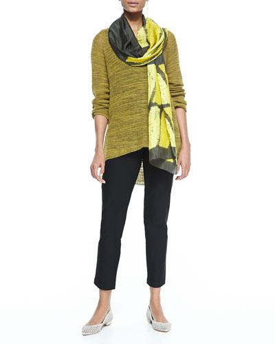 Eileen Fisher Slub-Knit V-Neck Tunic, Long Slim Camisole, Stretch-Crepe Ankle Pants & Silk Shibori Icons Scarf, Women's