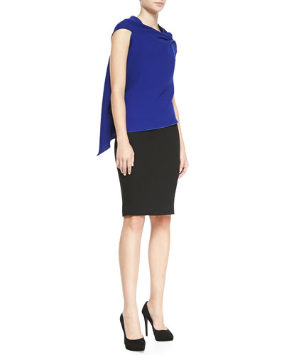 Roland Mouret Eugene Sleeveless Dramatic Drape-Back Top & Sitona Slim Skirt with Back-Zip Detail