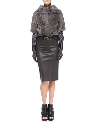 Brunello Cucinelli Marbled Shearling Fur Crop Jacket, Satin V-Neck Blouse, Leather Pencil Skirt, Crystal-Detail Leather Belt & Satin Evening Gloves