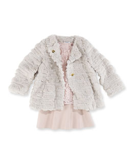 Milly Minis Girls' Sequin Faux-Fur Coat, Floral Lace Top & Emmy Flare Skirt