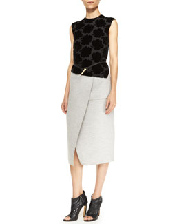 Derek Lam Fold-Skirt Sleeveless Dress & Golden Horn Buckle Leather Belt