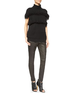 Derek Lam Cashmere Fringe-Detail Turtleneck Sweater & Moto Leather Leggings