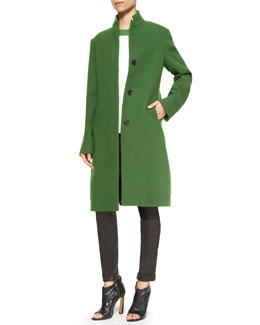 Derek Lam Wool Colorblock Stand-Collar Long Coat, Colorblock Short-Sleeve T-Shirt & Moto Leather Leggings