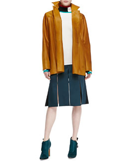Derek Lam Calf Hair Barn Jacket, Knit Contrast-Trim Turtleneck Sweater & Double-Faced Satin Skirt