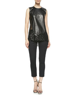 Reed Krakoff Sleeveless Circle-Cutout Leather Top and Cropped Skinny Pants