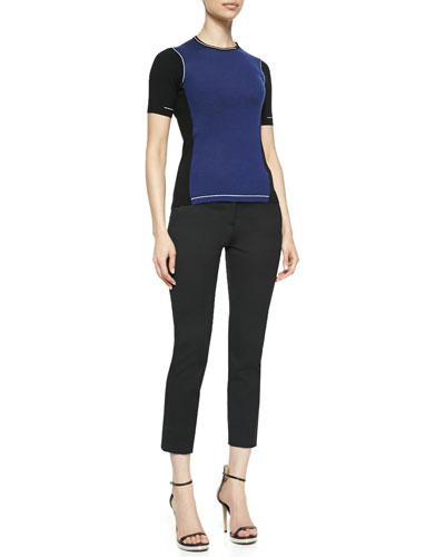 Reed Krakoff Short-Sleeve Colorblock Sweater and Cropped Skinny Pants
