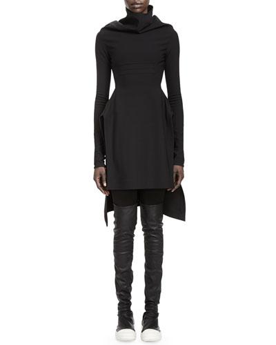 Rick Owens Calla Long-Sleeve High-Low Dress & Merino Wool Leggings