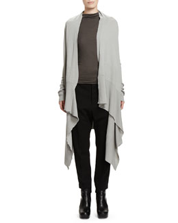 Rick Owens Long-Sleeve Wrapped Long Cardigan & Slub Jersey Sleeveless T-Shirt