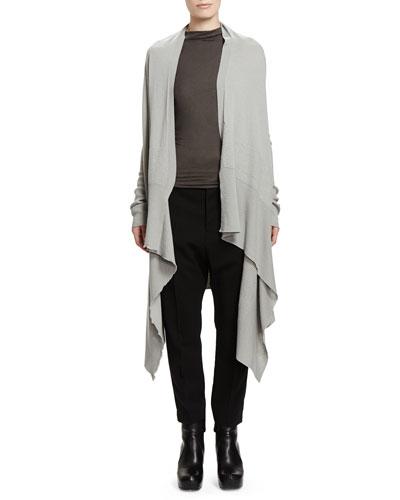 Rick Owens Long-Sleeve Wrapped Long Cardigan & Slub Jersey Sleeveless T-Shirt