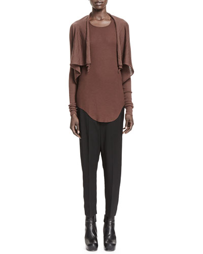 Rick Owens Butterfly Wool Cropped Cardigan & Basic Ribbed-Jersey Tank Top