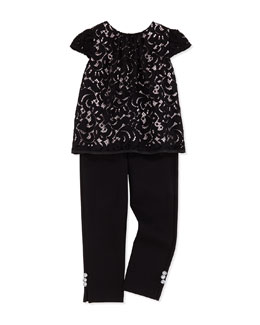 Milly Minis Girls' Floral Lace Cap-Sleeve Top & Ponte Jersey Leggings