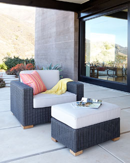 Dawson's Reef Outdoor Wicker Chair, Ottoman, & Cushions
