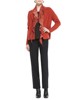 Eileen Fisher Notch-Collar Lambswool Jacket, Slim Jersey Tee, Straight-Leg Pants & Oxidized Printed Silk Scarf, Petite