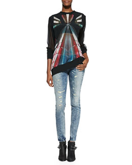 IRO Long-Sleeve Sheer Graphic-Print Top & Roxanne Distressed Skinny Jeans