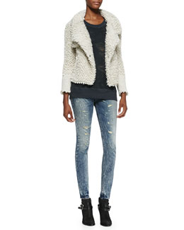 IRO Caty Looped-Knit Sweater Jacket, Nuala Burnout Muscle Tee & Roxanne Distressed Skinny Jeans