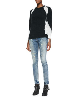 IRO Shani Combo-Knit Contrast Sweater & Roxanne Distressed Skinny Jeans