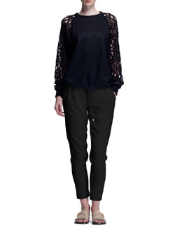 Chloe Milano Wool Sweater with Guipure Lace Sleeves & Stretch Wool Canvas Pants