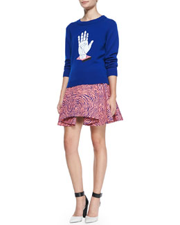 Opening Ceremony Hand-Print Relaxed Knit Sweater & Fingerprint-Circle A-Line Skirt