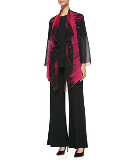 Caroline Rose Waterfall Graphic-Print Jacket, Stretch Knit Long Tank & Stretch Knit Wide-Leg Pants