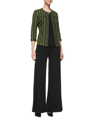 3/4-Sleeve Textured Bead-Trim Jacket, Knit Scoop-Neck Tank Top & Knit Palazzo Pants, Petite