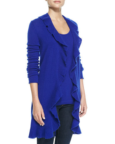 Neiman Marcus Cashmere Ruffled Long-Sleeve Duster & Sleeveless Tank Top