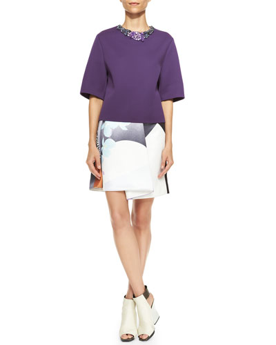 3.1 Phillip Lim Short-Sleeve Shirt with Jeweled Neckline & Rounded Folded Floral Skirt