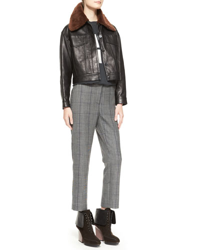 3.1 Phillip Lim Western Leather Jacket with Fur, Cash Only Cut-In Tank Top & Prince of Wales Check Pencil Pants