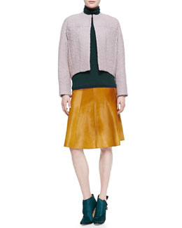 Derek Lam Seamed Rounded Jacket, Cashmere-Blend Turtleneck Sweater & Seamed Calf Hair Skirt