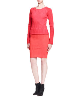 Alexander Wang Fitted Chevron Pullover Sweater and Pencil Skirt
