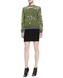 Alexander Wang Paisley-Flocked Pullover Sweater and Fitted Back-Zip Pencil Skirt