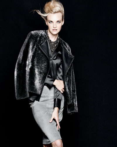 Brunello Cucinelli Reversible Shearling Fur/Leather Jacket, Long-Sleeve Satin V-Neck Blouse, Suede Pencil Skirt & Swarovski® Crystal Bib Necklace
