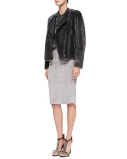 Brunello Cucinelli Reversible Shearling Fur/Leather Jacket, Long-Sleeve Satin V-Neck Blouse, Suede Pencil Skirt & Swarovski® Crystal Bib Necklace