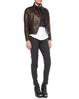 Brunello Cucinelli Leather Zip Jacket, Embroidered Cropped Sweater, Monili-Trim Tuxedo Blouse & Tech Fleece Biker Pants