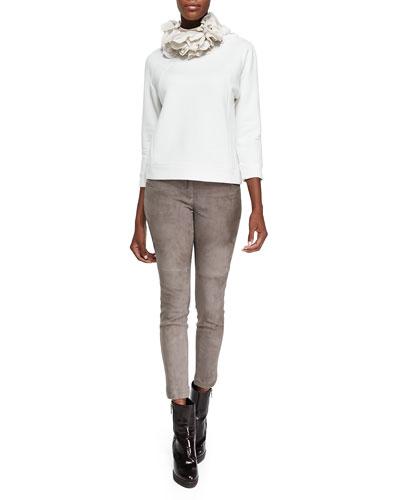 Brunello Cucinelli Monili-Neck Sweatshirt W/ Bracelet Sleeves, Silk Petal Collar Necklace & Fitted Suede Pencil Leg Pants