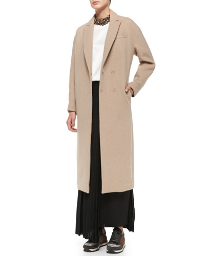 Brunello Cucinelli Long Cashmere Coat, Sleeveless Satin Top, Belted Maxi Skirt & Crystal Collar Necklace