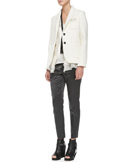 Brunello Cucinelli Two-Button Patch-Pocket Blazer, Crepe Gilet with Organza Underlay, V-Neck Satin Tank Top & Pull-On Satin Cigarette Pants