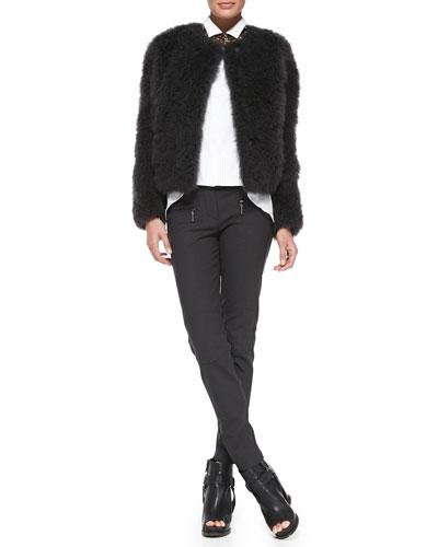 Brunello Cucinelli Crystal Collar Necklace, Poplin Pintuck Boyfriend Shirt & Tech Fleece Zip-Pocket Biker Pants