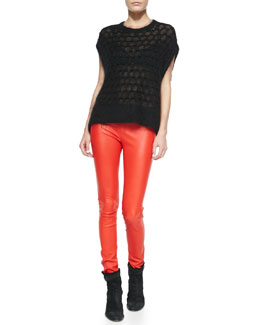 Helmut Lang Lacey-Knit Cap-Sleeve Sweater & Contrast-Waist Leather Leggings
