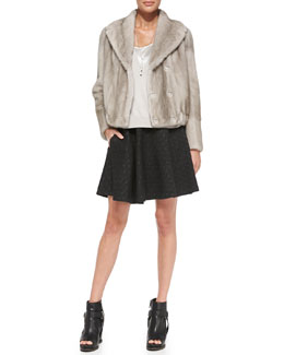 Brunello Cucinelli Mink Fur Blouson Jacket, V-Neck Sweater, Satin Racerback Tank, Polka Dot Swing Skirt & Whistle Necklace