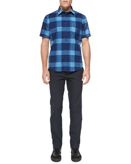 Rag & Bone Short-Sleeve Check Button-Down Shirt & Tonal Seersucker Trousers
