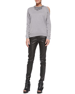 Brunello Cucinelli Embellished Cold-Shoulder Sweater and Leather Skinny Pants