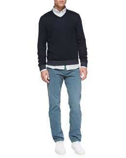 Rag & Bone Tipped V-Neck Sweater, Striped Button-Down Shirt & RB15X Brushed Twill Jeans
