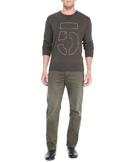 Rag & Bone Long-Sleeve Number 5 Sweatshirt & 5-Pocket Twill Pants