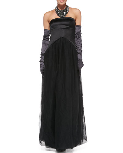 """Brunello Cucinelli Strapless Tail-Back Gown, Satin Evening Gloves & Crystal Bib Necklace<br>This item may still be available in stores. <a href=""""http://www.neimanmarcus.com/stores/index.jsp""""target=""""_blank"""">Find your nearest NM</a><br>"""